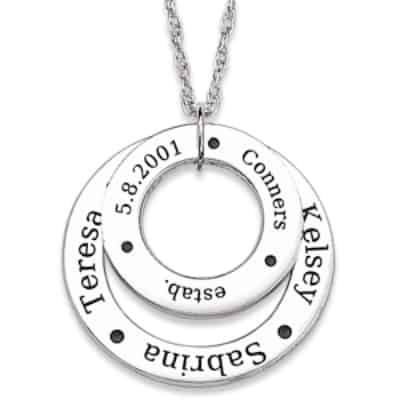 Double Circle Family Birthstone and Name Necklace