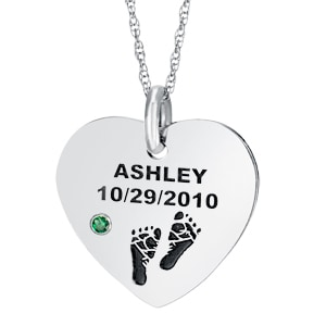 Sterling Baby Feet, Birthstone Name & Date Heart Necklace