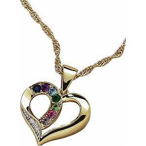 Mothers Birthstone Necklace with Diamond Accent