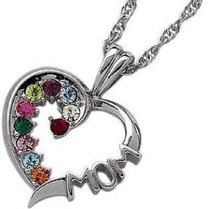 Sterling Silver MOM Heart Shaped Birthstone Necklace