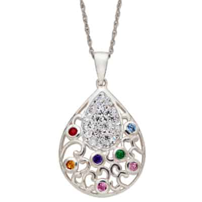 Teardrop Shaped Family Birthstone Necklace
