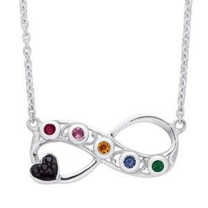 Family Birthstone Infinity Necklace with Heart