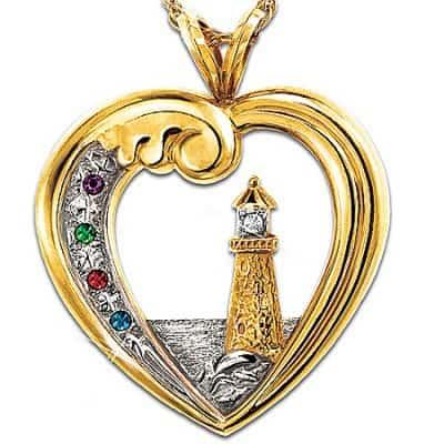 Thomas Kinkade Beacon Of Hope Personalized Lighthouse Pendant Necklace