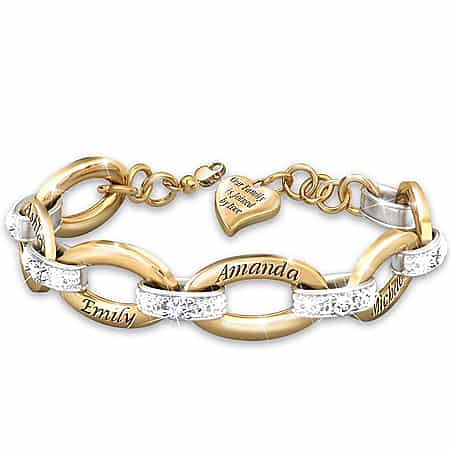 Joined By Love Personalized 18K Gold-Plated Diamond Bracelet