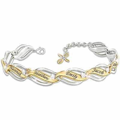 Our Family Of Faith & Love White Topaz Personalized Bracelet With Cross Charm