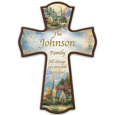 Thomas Kinkade Family Blessings Personalized Cross Wooden Wall Decor