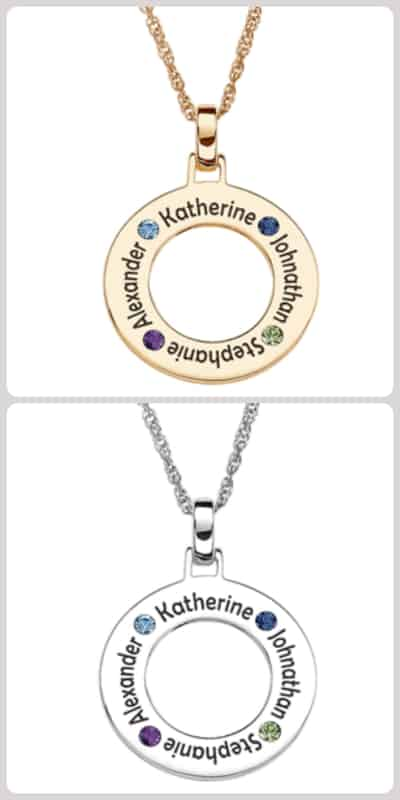 Circle Family Necklace with Names and Birthstones