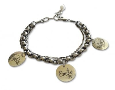 Vintage Style Personalized Mother's Bracelet - updated mom bracelet features delicate charms that are hand-inscribed with the kids names on the front and the birthdate on the back.