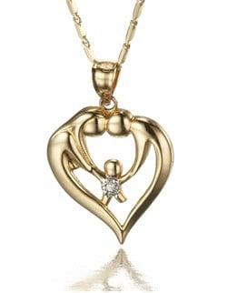 Diamond 2 Parent One Child Family Bond Heart Pendant in 14k Gold