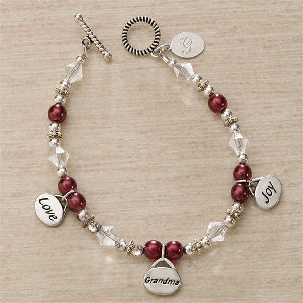 Love, Grandma, Joy Personalized Charm Bracelet