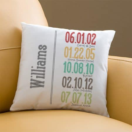 Gifts for Mom from Daughter:  Delight Mom this year with a unique personalized throw pillow that features the family's most important dates.