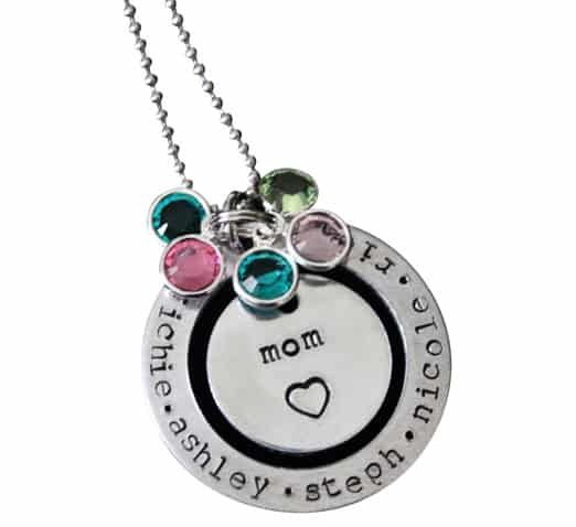 Mom Birthstone Necklace with Family Names