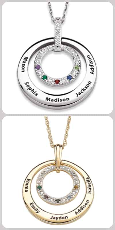 What woman wouldn't love wearing this striking diamond and birthstone Mother's Day necklace that's engraved with her loved one's names?