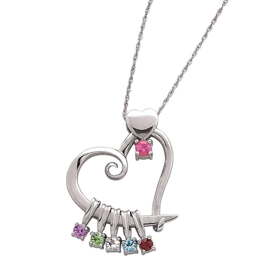 Love how this heart-shaped Mother's Day birthstone necklace also features Mom's birthstone at the heart!
