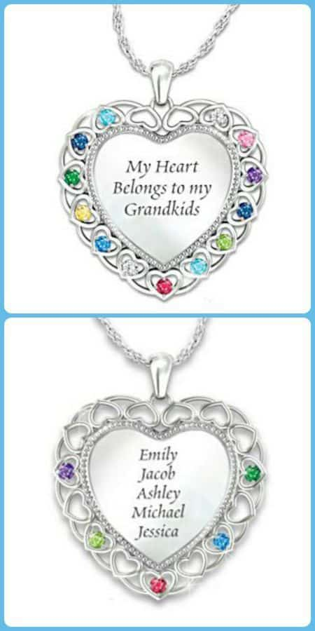 Grandma Birthstone and Name Necklace