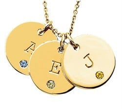 Personalized Birthstone Initial Disc Pendants in 14k Rose