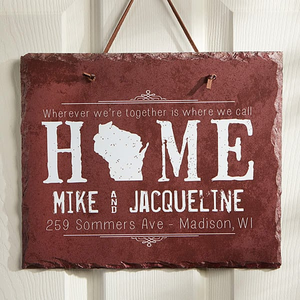 "Striking ""State of Love"" personalized plaque is a unique Mothers Day gift 2017 that any woman would love to display!"