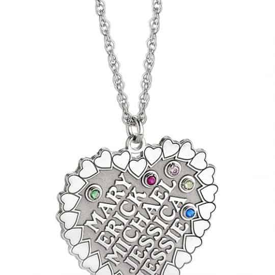 """The Heart of the Family"""" Birthstone Necklace - Personalized"""