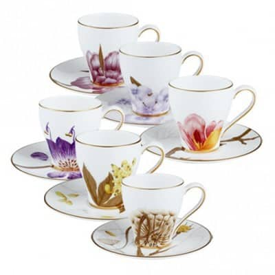 Set of Six Flora Espresso Cups & Saucers by Royal Copenhagen