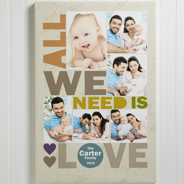 All We Need is Love Personalized Canvas Print -  a fabulous Mother's Day gift for any woman!