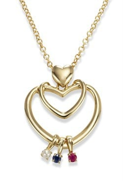 14k Gold Family Bond Heart Necklace with Genuine Birthstone Charms