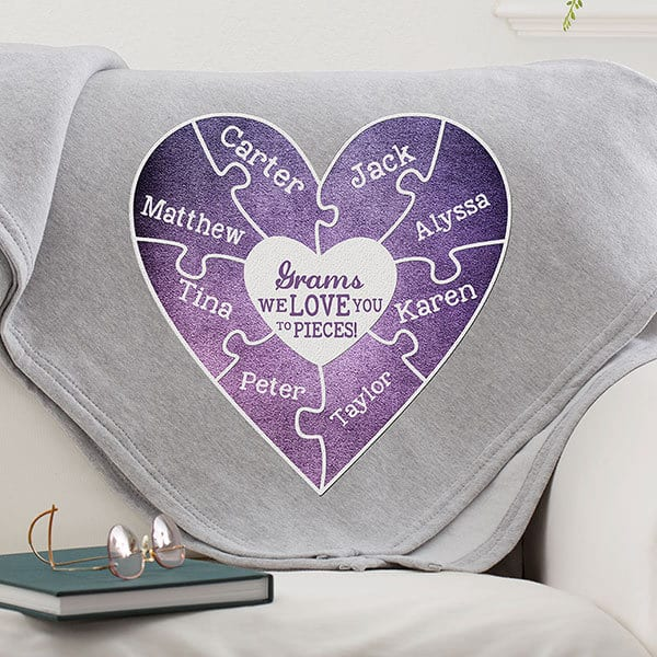 We Love You To Pieces Personalized Sweatshirt Blanket – Choice of Colors