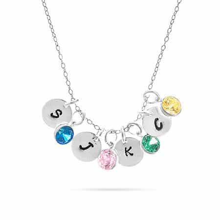 Hand Stamped Mini Initial Disc and Birthstone Charm Necklace