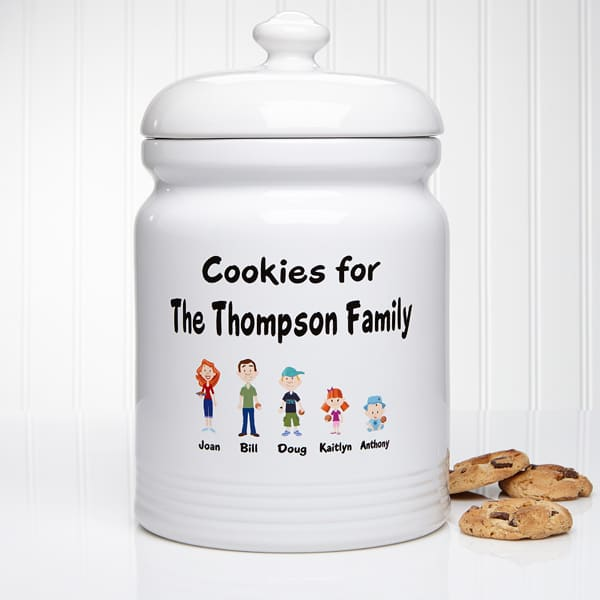 Our Family Characters Personalized Cookie Jar is a delightful gift for the woman who enjoys baking!  Add up to 8 cartoon characters to represent each family member.