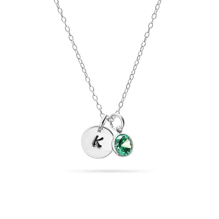 First Mother's Day Initial and Birthstone Charm Necklace