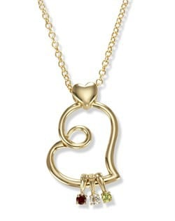 Birthstone Family Bond Floating Charm Heart Necklace in 14k Gold