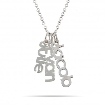 Dangling Family Name Necklace Sterling Silver