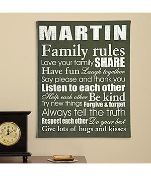 Family Rules Canvas - Choice of 4 Colors