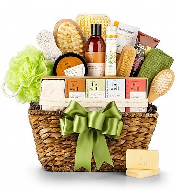 Relaxing First Mother's Day Gift Basket - lovely organic spa gift basket is the perfect way to pamper the new mom on her first Mother's Day!