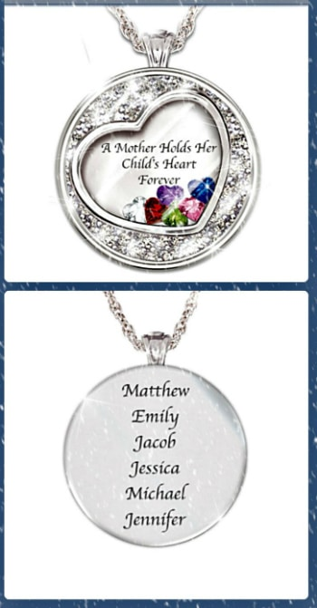 "Mothers Necklace with Kids Names - How sweet is this necklace that features up to 6 floating heart birthstones?  The necklace is inscribed with the kids names on the back, and the sweet message ""A Mother Holds Her Child's Heart Forever"" on the front.  Fabulous gift for Mom, Grandma or your wife!"