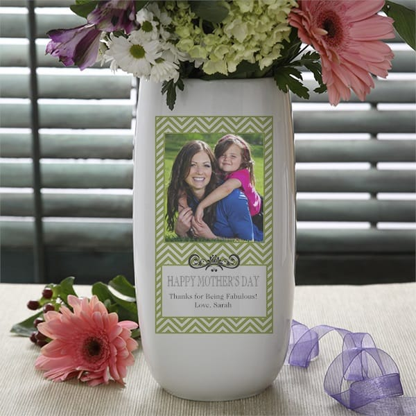 This Mother's Day give your Mom flowers in a personalized vase that she can enjoy long after the flowers have wilted.