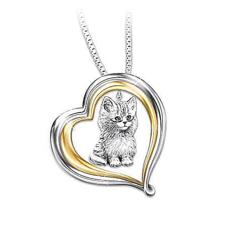 Purr-fect Companion Heart Shaped Keepsake Cat Necklace