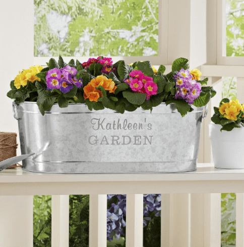 Personalized Galvanized Planter Tub