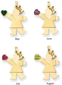 The Kids 14k Gold Heart Birthstone Girl Pendant with Bow