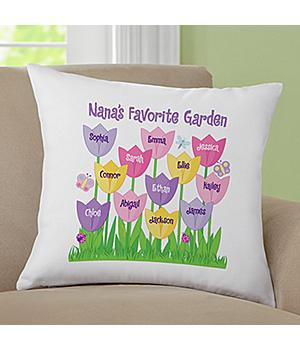 Tulip Garden Pillow - Personalized