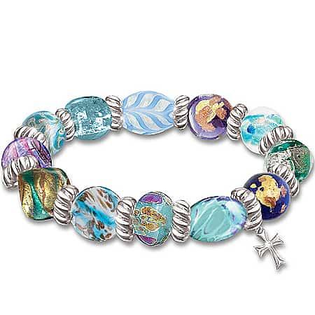 Wonders Of Faith Art-Glass Beaded Bracelet