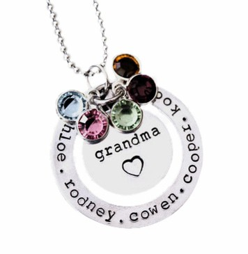 Trendy Grandma Birthstone & Name Necklace