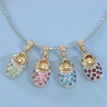 14k Gold Birthstone Baby Shoe Charms