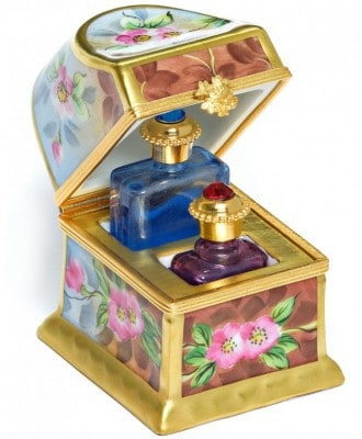 Trunk Keepsake With Perfume Bottles by Limoges