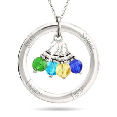 Personalized Circle Necklace with Dangling Birthstones