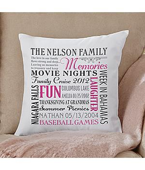 """Remember When"" Family Pillow - Pink or Green"