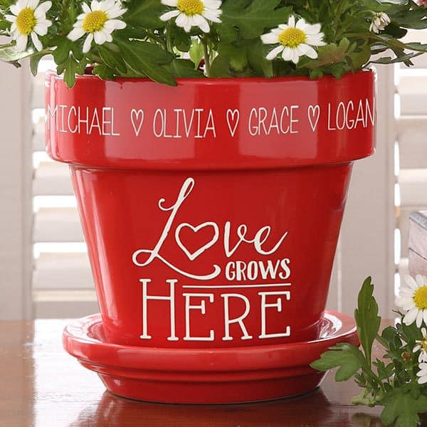 Personalized Flower Pot – Love Grows Here – Red or Purple