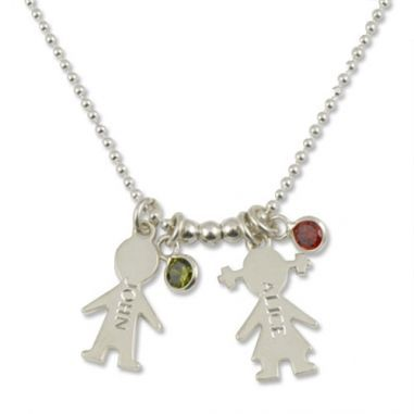 Personalized Boy & Girl Birthstone Charm Necklace