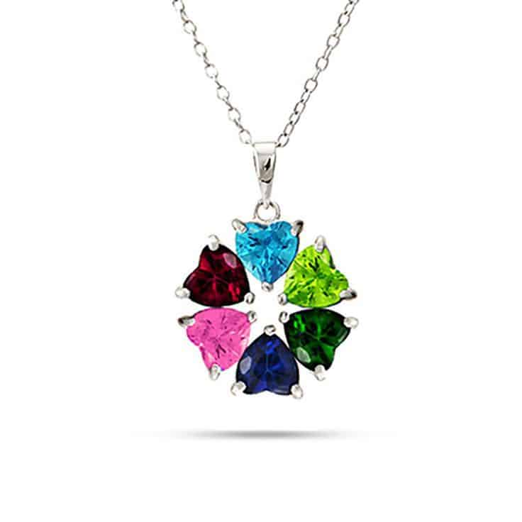 Circle of Hearts Birthstone Necklace