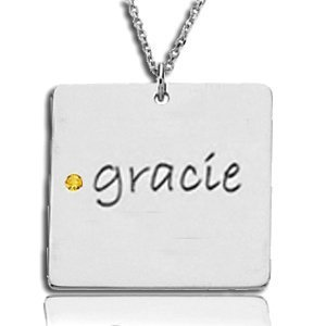 Posh Mommy Name & Birthstone Necklace - Silver or Gold