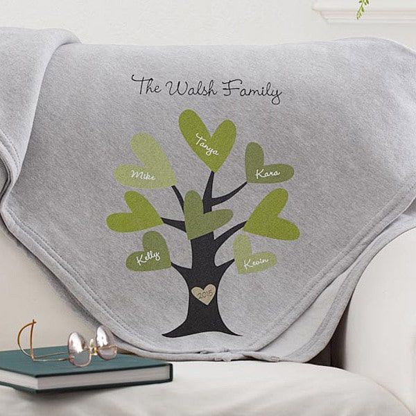 Soft and cozy family tree blanket features loved one's names on the heart-shaped leaves.  A cute and practical Grandparents Day gift idea!